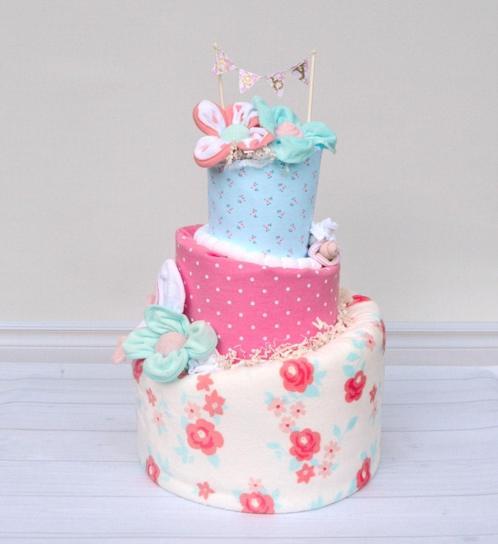 girl diaper cake shabby chic baby shower floral baby shower
