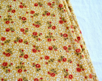 "Vintage Fabric - Petite Orange Rust Flowers on Yellow - 36"" Wide Cotton By the Yard"