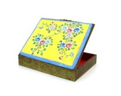 Shabby Vintage China Enamel Flower Trinket Box | Engraved Floral Brass-tone Metal | Home Decor, Storage