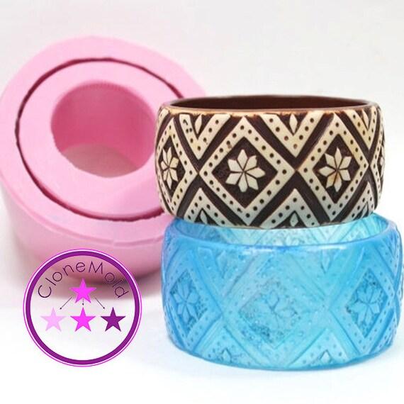 Bangle Mold Printed CrissCross Bracelet Silicone Rubber Mold