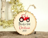 Baby Boy Ornament - Modern Christmas Ornament - Tractor Ornament - Babys First Chistmas - XMAS007