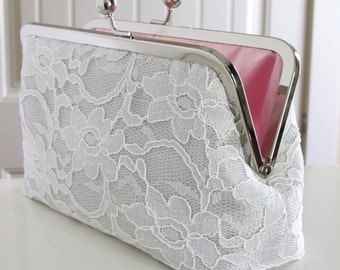 Bridal Silk And Lace Clutch Grey Mist,Bridal Accessories,Wedding Clutch,Bridal Clutch,Bridesmaid Clutches
