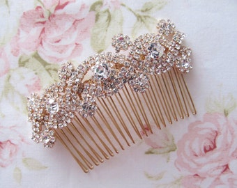 Rose Gold Bridal Hair Comb,Rhinestone Wedding Hair Comb,Bridal Hair Accessories,Wedding Accessories,Decorative Hair Comb #C29
