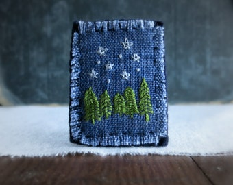 Night Sky Textile Art Brooch - Hand Embroidered Textile Art Brooch