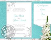 DIY Custom Wedding Invitation Suite - Beach Sea Shells Design Customized Printable PDF