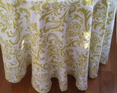 """Round tablecloth 90"""" traditons damask citrine green and white cotton 412"""