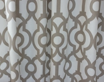 "Pair, Two 50"" wide, designer curtain panels, drapes, rod pocket Lyon ecru and white cotton"
