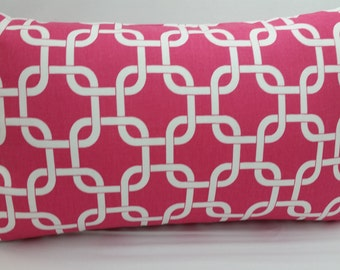 "Gotcha chain link toss pillow, 20 x 12"" lumbar, white pink RTS"