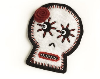 White Sugar Skull Patch, hand embroidered on wool felt, red and black embroidery, wool felt Day of the Dead sugar skull applique