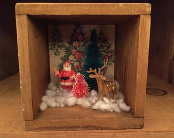 Tiny Christmas Scene, Shadow Box, Diorama