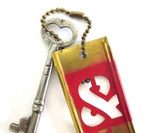 Vintage heart skeleton key Antique heart key Old heart key Skeleton heart key Key to my heart Valentine heart key & stencil fob Brass bit 24