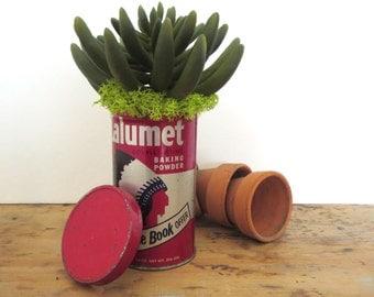 Vintage Calumet tin Vintage baking powder tin Round Calumet Baking Powder tin Antique tin container Baking Powder advertising tin Kitchen