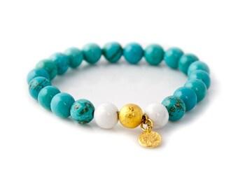 HOWLITE,Mala Bracelet,Beaded Bracelet,Gemstone Bracelet,Yoga Jewelry,Inspirational Jewelry,Healing Jewelry, Gift for Her
