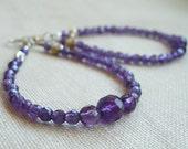 Amethyst Earrings,  Amethyst Hoop Earrings, Purple Gemstone, February Birthstone