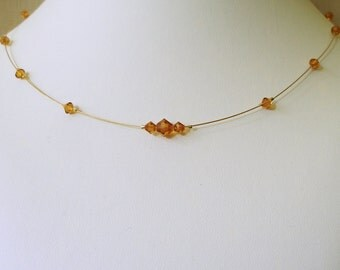 Topaz Color Illusion Necklace, Layering Necklace, Dainty Necklace