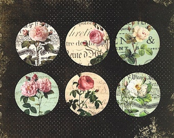 Stickers, Roses, Vintage Style, Rose Sticker Seals, 18 pcs