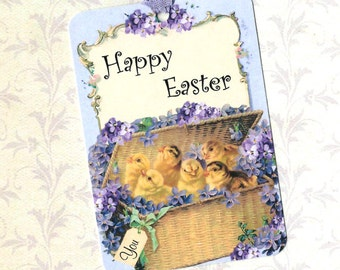 Easter, Gift Tags, Easter Basket, Chicks & Violets, Tags, Happy Easter
