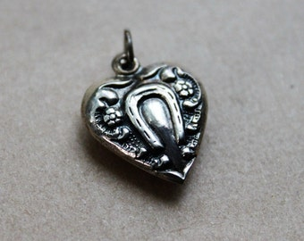 Antique Sterling Puffy Heart Charm / Lucky Horseshoe / Good Luck Jewelry