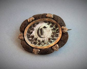 Victorian Hairwork Brooch / Monogram Letter C on Mother of Pearl / Antique Mourning Brooch