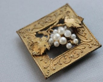 Victorian Sash Pin with Pearl Grapes and Leaves