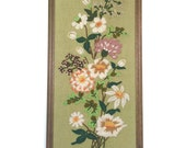 Vintag Crewel Floral Embroidery Framed Needlework