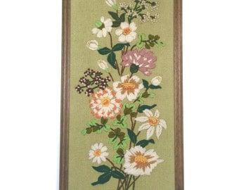 Vintag Crewel Floral Embroidery Framed Needlework
