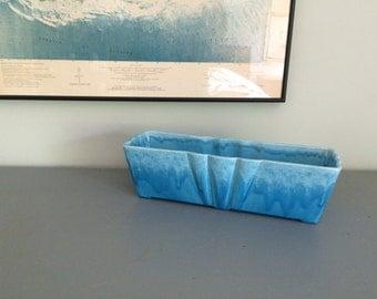 Vintage Aqua Blue Ceramic Pottery Planter