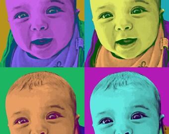 Andy Warhol Custom pop art portrait, personalized portrait, colorful modern art - digital file