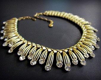 Vintage Coro Gold Tone with Clear Rhinestones Bib Choker Necklace