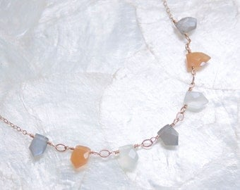 Peach, Gray, and White Moonstone and 14kt Rose Gold Fill Pennant Necklace - Eco Friendly Recycled Nickel Free Gold Ready to Ship