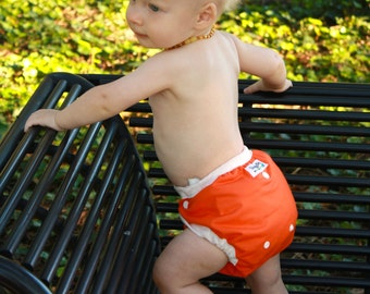 All In Two Cloth Diaper Cover - Tangerine -PATENT PENDING One Size Design Fits Newborns through Potty Training - OS AI2 - Cloth Nappy Cover