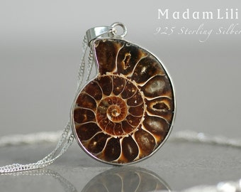 925 Silver Ammonit Fossil Necklace