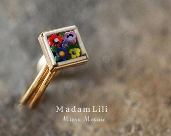 Original MICRO MOSAIC Vintage Ring - Adjustable