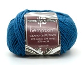 Hemp Yarn, Petrol Blue, 50 Gram Ball, 130 Yards, 210 DK weight, Hemp Wool -Y8
