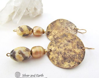 Hammered Brass Earrings, Gold Earrings with Pearls, Modern Earrings, Handmade Artisan Jewelry, Gold Pearl Dangle Earrings, Gift for Her