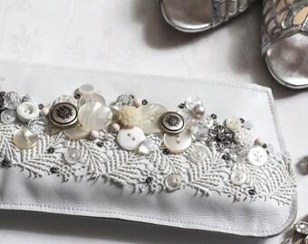 White leather wedding bag, white bridal embellished clutch bag, bridal shower gift