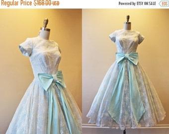 ON SALE 1950s Dress - Vintage 50s Dress - Cinderella Blue White Flocked Organdy Princess Party Dress S - Entranced