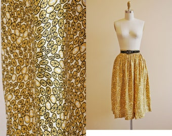 40s Novelty Print Skirt - Vintage 1940s Skirt - Mustard Yellow Black Cold Rayon Dancing Kids Wheels XS S - Life Hands You Lemonade