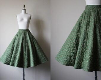 50s Skirt - Vintage 1950s Quilted Circle Skirt - Olive Green Novelty Harlequin Print Cotton Full Skirt S - Diamond Mine Skirt