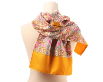 Mens Paisley WOOL Scarf 70s Vivid Colored Thin Wool Yellow Pink Vintage Winter Soft Neckwarmer Retro Double Shawl Muffle Boyfriend Men Gift