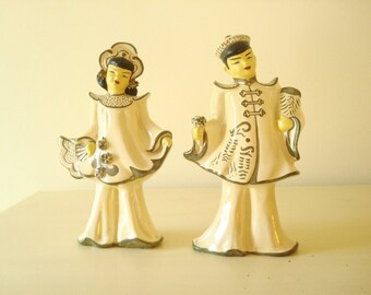 Asian figurines, Florence Ceramics, 1950s boy & girl, cream and gold, Pasadena California, Hollywood Regency home decor