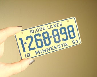 Vintage Minnesota bicycle license plate, mid-century bike plate, cereal premium giveaway, stocking stuffer, gift for guys, coworker gift