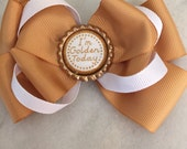 Golden birthday stacked hair bow