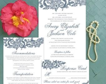 LACE WEDDING INVITATIONS, Dusty Blue Navy Wedding Invites Printable, Elegant Wedding Invitation Set, Wedding Invitation Suite - Avery