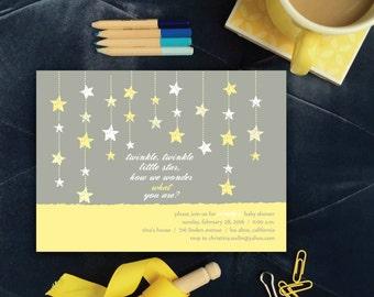 Twinkle, Twinkle Little Star Baby Shower Invitation. Yellow Gender Neutral Baby Shower Invitation. Gender Reveal Shower Yellow Stars Invites