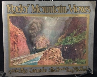 D&RGW Rio Grande Railroad 1917 Booklet 24-Colored Rocky Mountain Scenic Views