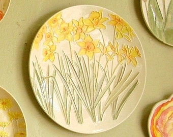 Spring Daffodil Ceramic-Watercolor Wall Hanging sculpture by Faith Ann Originals