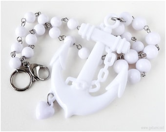 White Anchor Necklace, Beaded Necklace, White Jewelry, Nautical, Summer