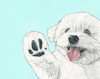 Custom Pet Portrait 14x18 inches Hand Painted - Custom Illustration - Gift for pet Lover - Illustration of Pet - Gift for him - Gift for her