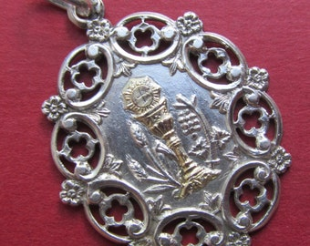 Antique Religious Medal French Silver Gold Holy Communion Catholic Pendant  SS440